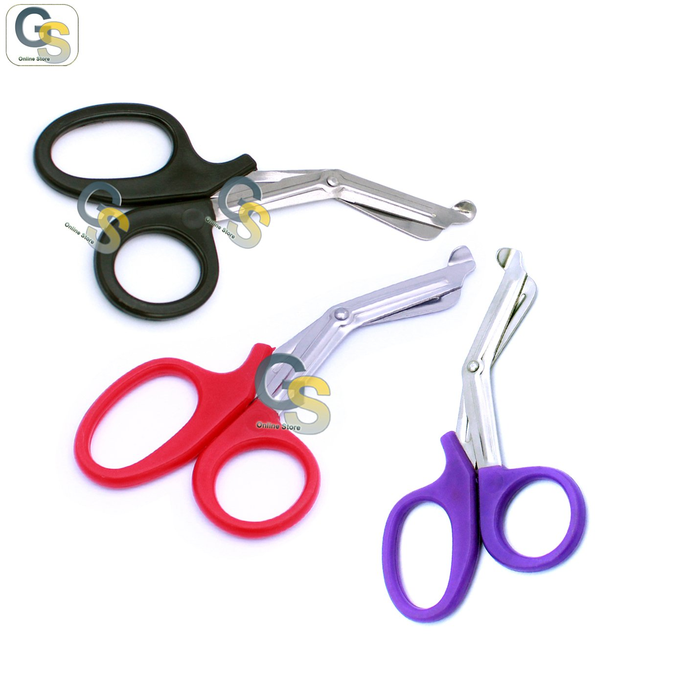 G.S 3 PCS (BLACK & RED & PURPLE) PARAMEDIC UTILITY BANDAGE TRAUMA EMT EMS SHEARS SCISSORS 7.25 INCH STAINLESS STEEL