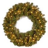 National Tree 30 Inch''Feel Real'' Downswept Douglas Fir Wreath with 100 Warm White LED Lights (PEDD8-312L-30W)