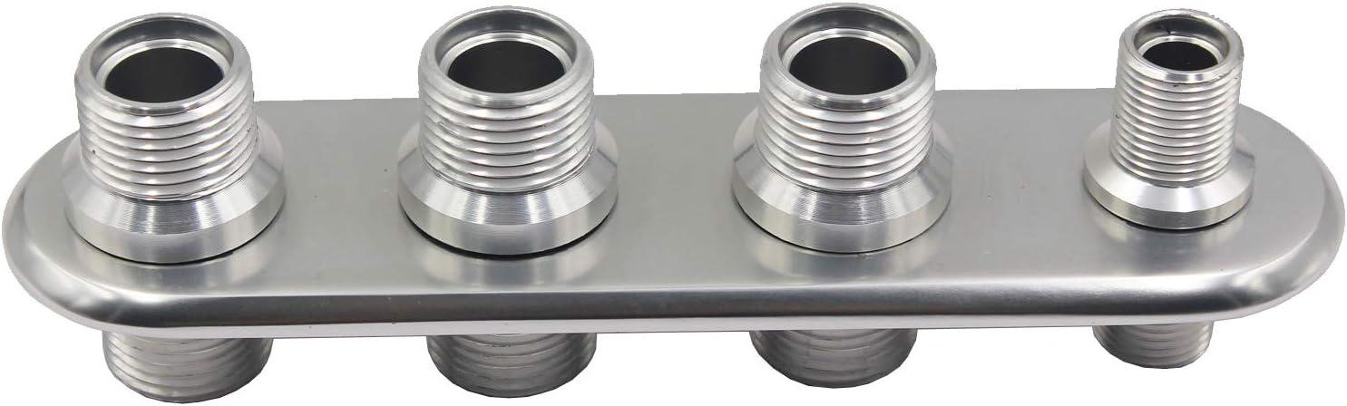 LOSTAR Billet Aluminum 4 Port Bulkhead Fitting For Air Conditioning Line//Heater Hose