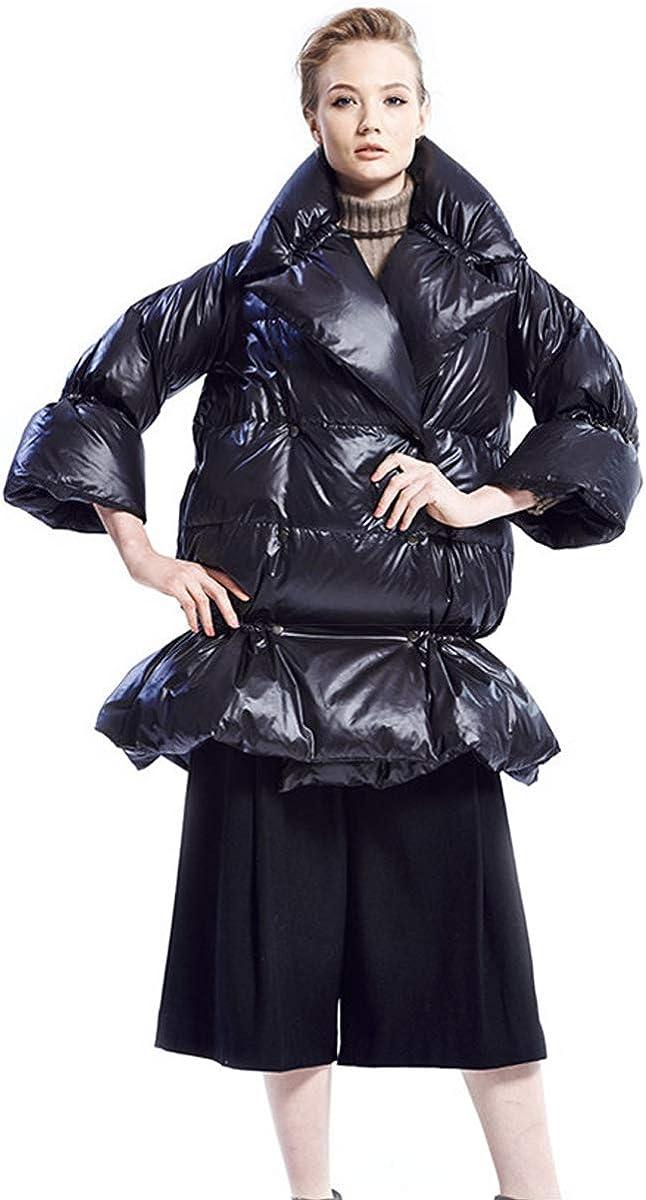 Winter Womens Down Coat Loose Fit Fashion Long Coat Lapel Collar Snap Button