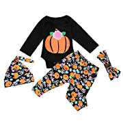 Infant Baby Boy Girl Halloween Pumpkin Costume Outfit Long Sleeve Romper + Floral Printed Pants + Headband + Hat Clothes Set (Black, 0-6 Months)