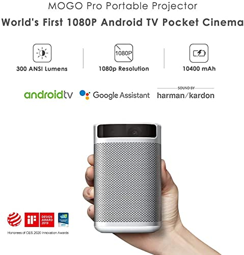 XGIMI MOGO Pro,1080P Full HD, 300 ANSI Lumen Smart Portable Projector, Harman Kardon Speakers, Android TV 9.0, Google Play Store, The Only 1080P Android TV Portable Cinema