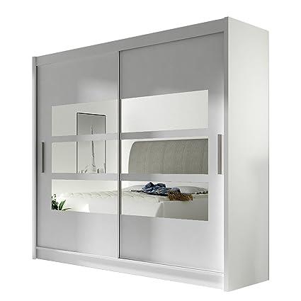 Kleiderschrank mit Spiegel London III, Schwebetürenschrank,  Schiebetürenschrank, Modernes Schlafzimmerschrank 180x215x57cm, Garderobe,  Schlafzimmer ...