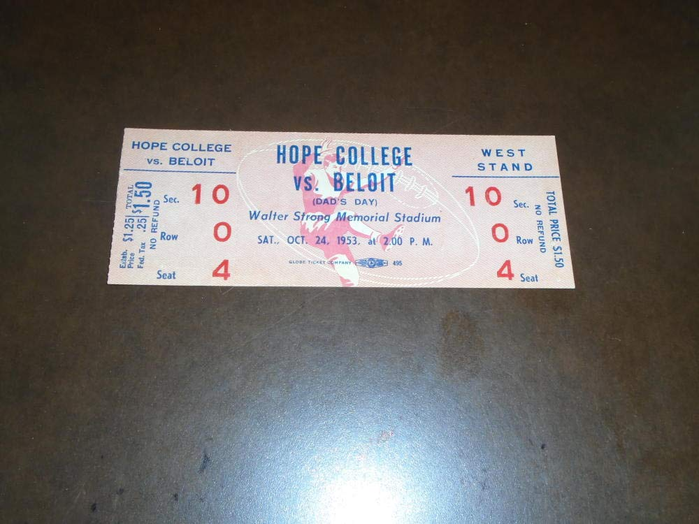 1953 HOPE COLLEGE (MI) AT BELOIT (WI) COLLEGE FOOTBALL FULL TICKET