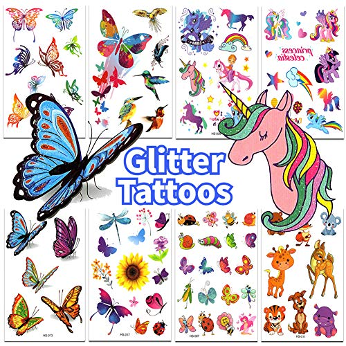 Glitter Tattoos for Kids Birthday Party Supplies Colorful & Sparkly Butterfly Tattoos Unicorn Tattoos for Party Favors 8 Sheets]()