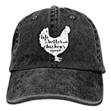 Life is Better with Chickens Around Vintage Adjustable Cowboy Cap Gym Caps for Adult