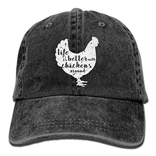 Life is Better with Chickens Around Vintage Adjustable Cowboy Cap Gym Caps for -