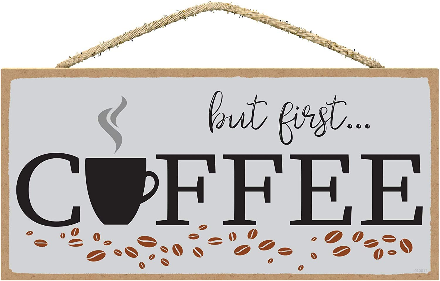 SarahJoy's Coffee Bar Sign - Coffee Wall Decor - But First Coffee Sign - Coffee Station Decor - Coffee Signs 5 x 10 inches (But First Coffee)
