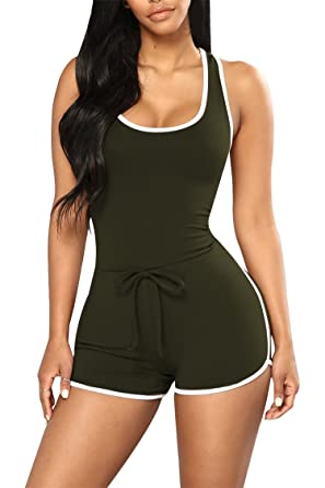fd8b74e885be Amazon.com  Selowin Womens Active Sleeveless Racerback Tank Top Bodycon  Shorts Romper Jumpsuit  Clothing