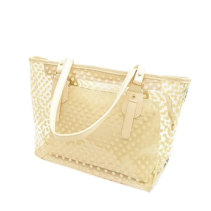 Amazon.com   OULII Clear Zippered Tote Bag Dots Patterned Women ... 92cb4d9179
