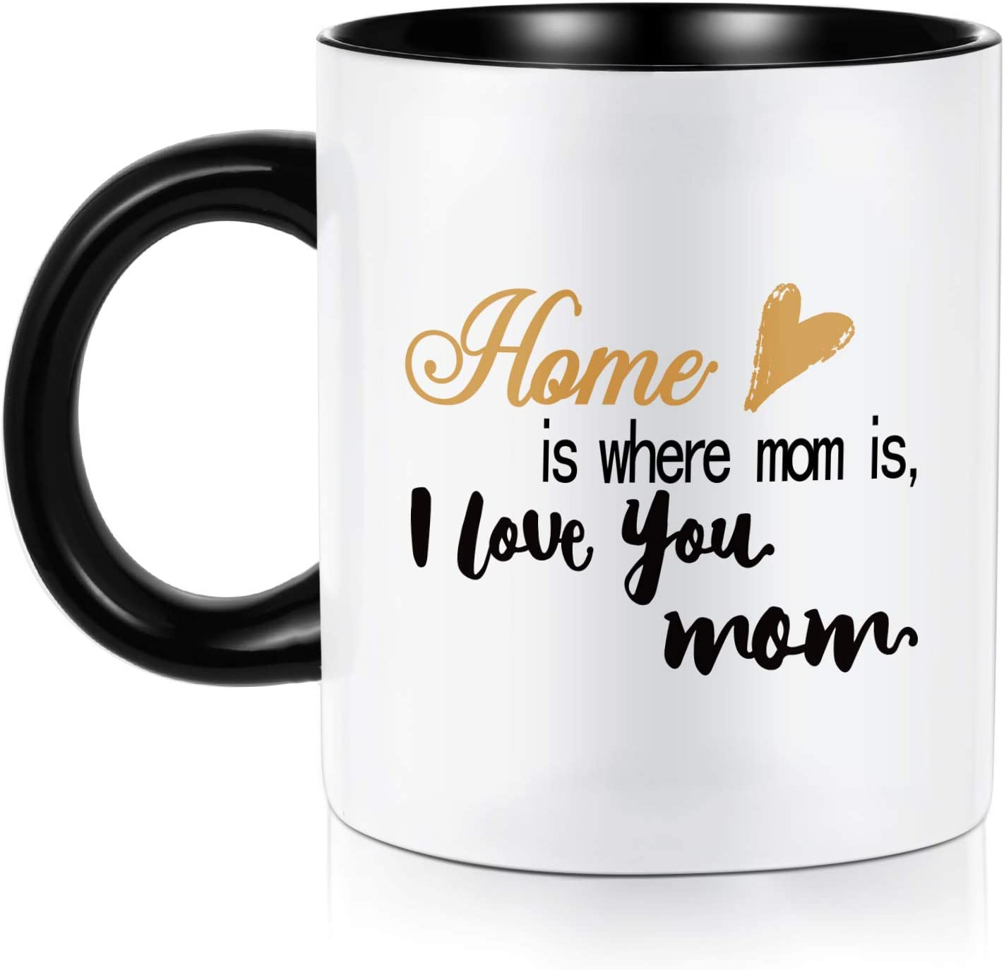 Mom Gifts, Home is Where Mom is I Love You mom Gifts for Mom Birthday Christmas Mothers Day Valentines, White Ceramic 11 oz Mugs Coffee Tea Cup