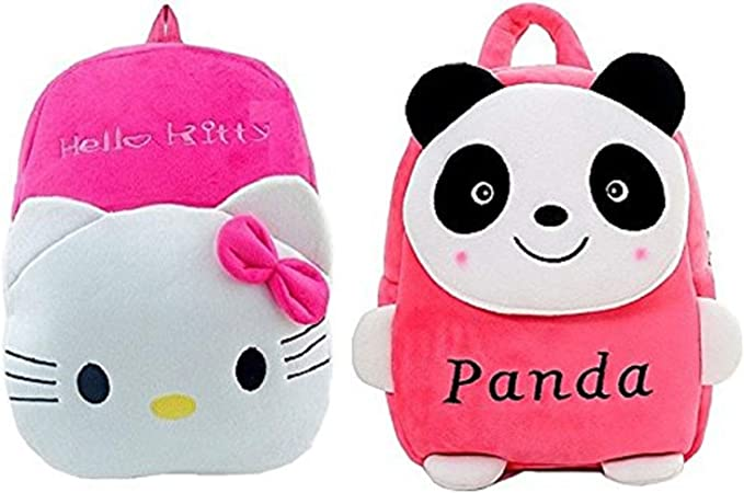 Blue Tree Girls and Boys Soft Plush Panda Hello Kitty Cartoon School Bag Backpack (Pink, 3 to 5 Year)