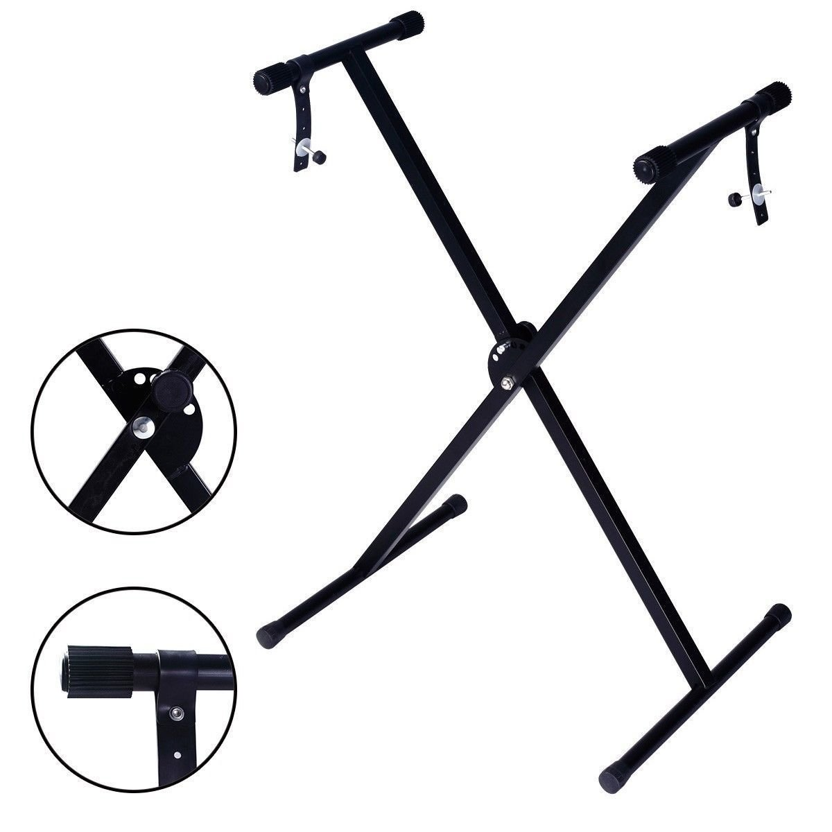 Glarry Adjustable Metal Music Keyboard Electric Piano X Stand Standard Rack