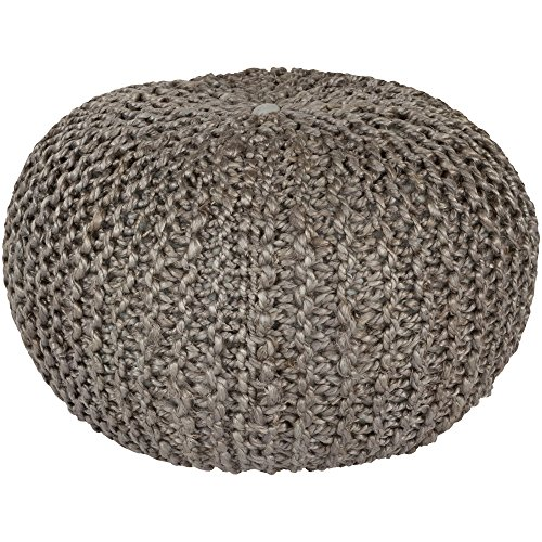 Surya BRPF-002 100-Percent Jute Pouf, 20-Inch by 20-Inch by 14-Inch, Gray from Surya