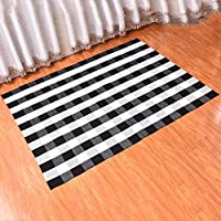 MAXYOYO White and Black Plaid Rug, Rug for Kitchen/Bathroom/Entry Way/Laundry Room Non Slip Indoor Outdoor Doormat Washable Bath Mat 2ft by 3ft