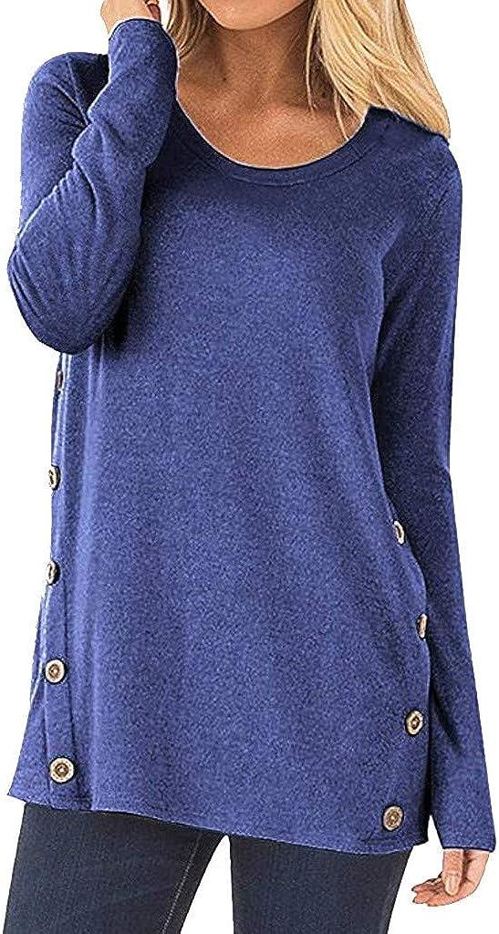 Elegante Bluse da Donna,Maglie a Manica Lunga da Donna,YanHoo Maglietta a Maniche Lunghe con Scollo Rotondo in Patchwork a Maniche Lunghe con Bottoni a Maniche Lunghe per Donna