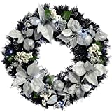 Black & Silver Decorated Pre-Lit Wreath Christmas Decoration Illuminated with 20 Warm White LED Lights - Size 60cm