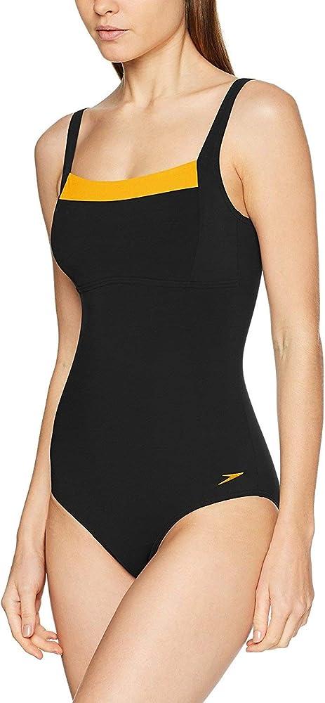 Speedo Women Contour Renew Swimsuit, BlackFluo Orange, 14