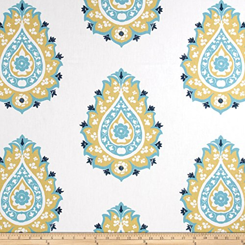 Premier Prints Damask Saffron/Coastal Blue Fabric By The Yard (Coastal Fabrics For Upholstery)