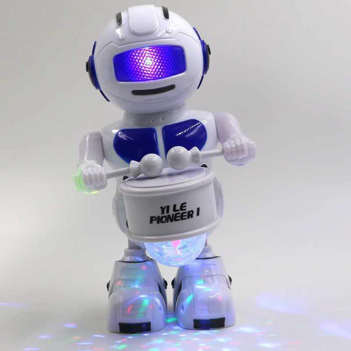 Heaviesk Robot elé ctrico Tamañ o portá til 360 Grados Totary Music Light Niñ os Robot elé ctrico Iluminació n Mú sica Robot de Tambor elé ctrico