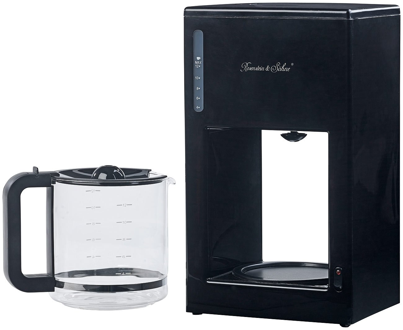 Rosenstein & Söhne - Máquina de café (: Diseño Moderno de cafetera eléctrica para hasta 12 tazas, 1000 W (Café Caliente Máquinas con soportes): Amazon.es: ...