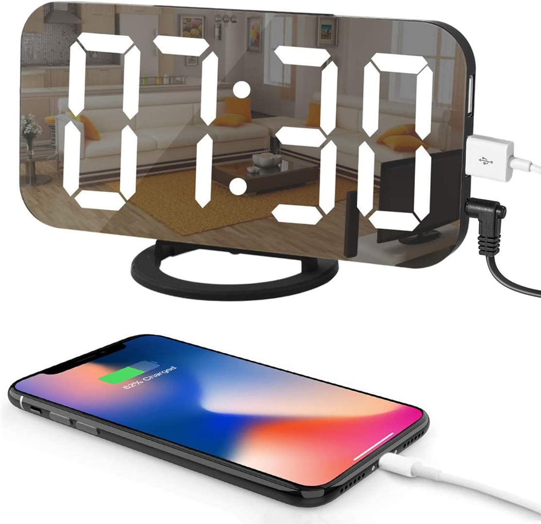 """LED Digital Alarm Clock with Large 6.5"""" Easy-Read Display, Easy Snooze Function, Diming Mode, Mirror Surface, Dual USB Charging Ports for Bedroom, Living Room, Office, Travel"""