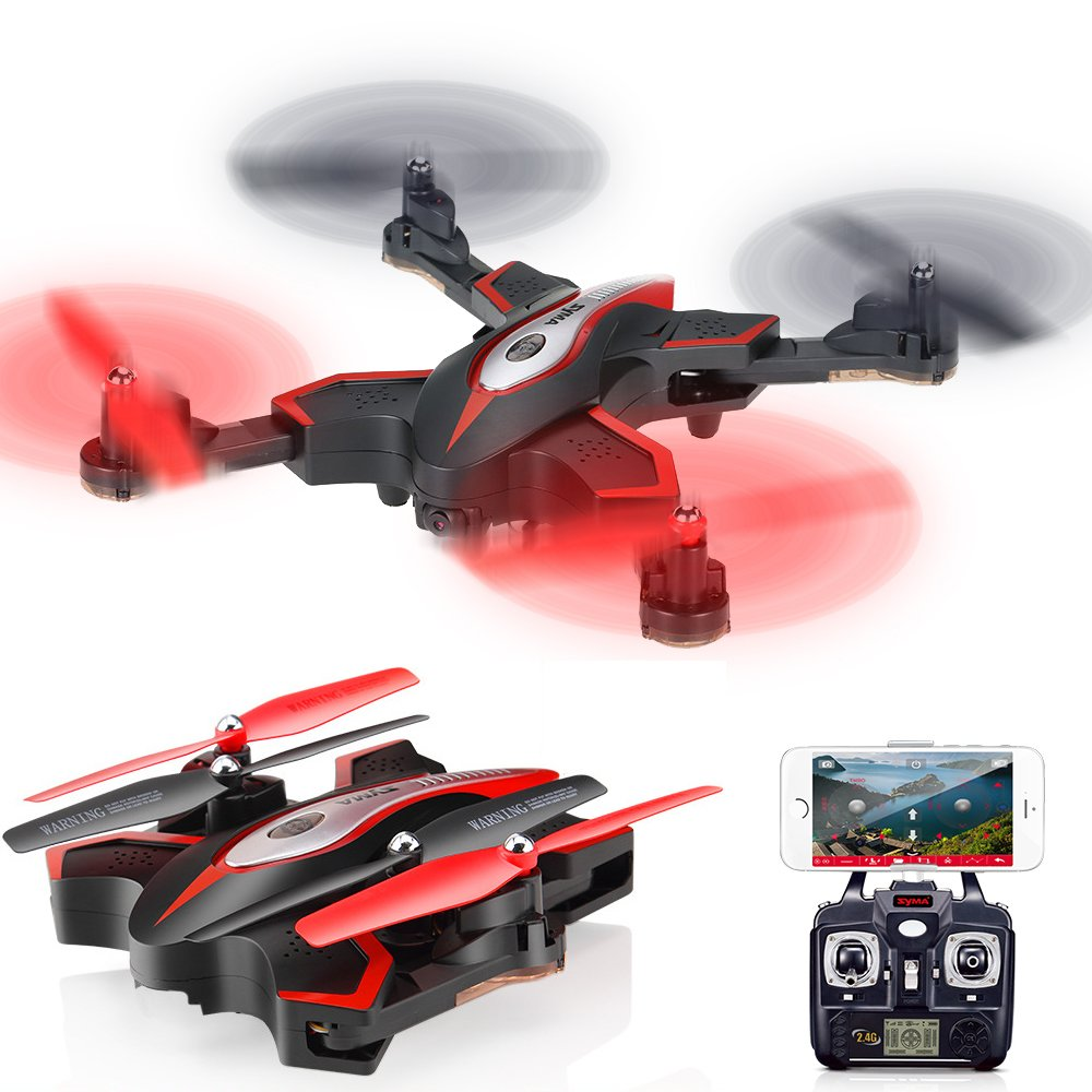 ElementDigital X56W RC Quadcopter Camera Control Drone Helicopter G-sensor WiFi FPV Pointing Flight Mode 2.4G 4CH 6-Axis Gyro Aircraft Foldable Arm (Black)