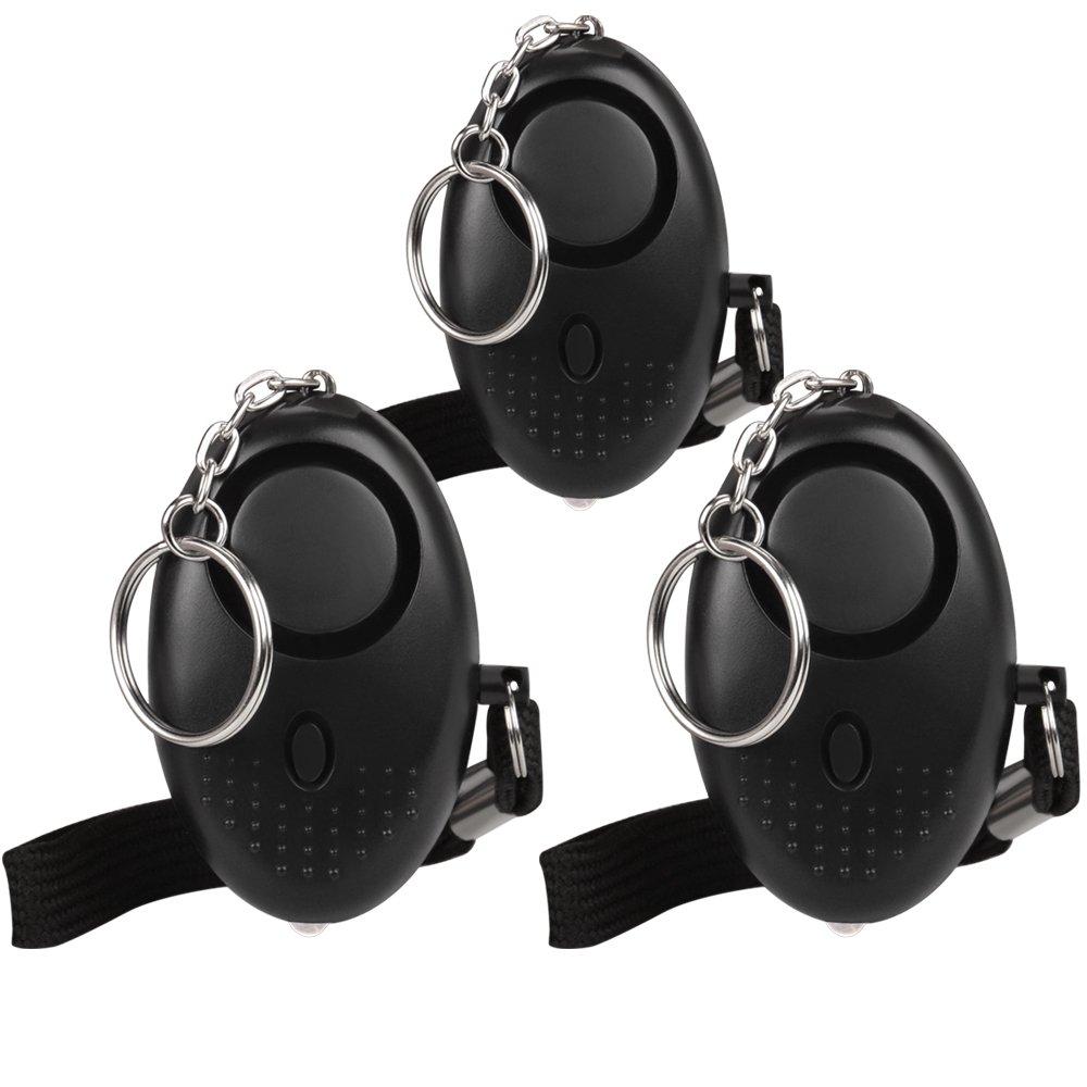 [2 Pack] Mini Alarma Personal 130db con Lámpara LED Olycism Portátil Alarm de Defanca para Mujeres/Ancianos/Violación/Jogger/Protección de autodefensa del estudiante (3 x Negro) OPALARM07BS