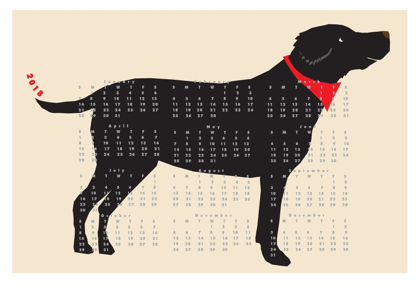 2018 Black Lab Dog Calendar wall calendar poster 13 x 19 inches