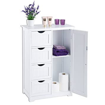 White Wooden Bathroom Storage Cabinet 4 Drawer Cupboard Unit 2 ... on white vessel sink cabinet, white bathroom tray, white bathroom cart, white wooden storage cabinets, ideapaint bathroom cabinet, white bathroom hutch, master bathroom vanity with cabinet, white bath cabinet, white bathroom magazine rack, white bathroom cabinet doors, white cabinets with granite bathroom, white linen cabinet with drawers, white bathroom linen cabinet, white bathroom display case, corner linen cabinet, white bathroom armoires, white bathroom dresser, white bathroom towel rack, white storage furniture, white tall bathroom cabinet,