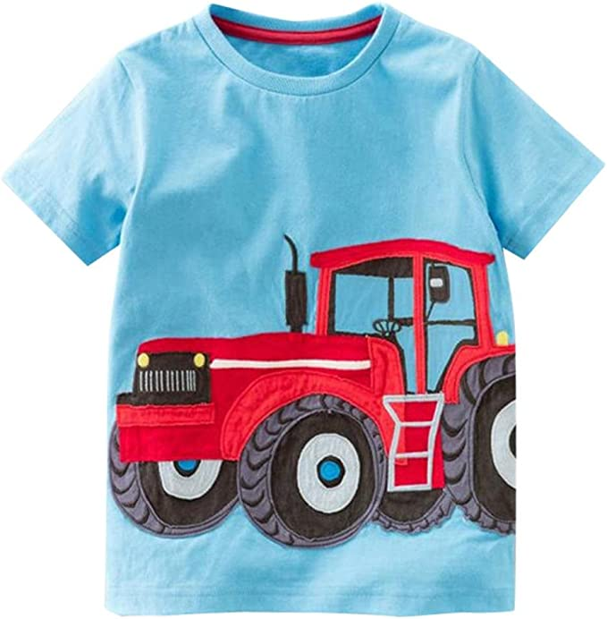Christmas Lights Tractor tee Boys White tee