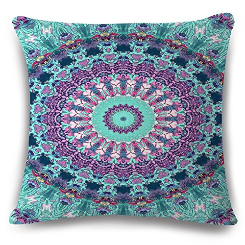 European Colorful Retro Floral Compass Medallion Purple Turquoise Cotton Linen Home Throw Pillow Case Personalized Cushion Cover NEW Home Office Decorative Moroccan Style Square 18 X 18 Inches (Plum Linen Red)