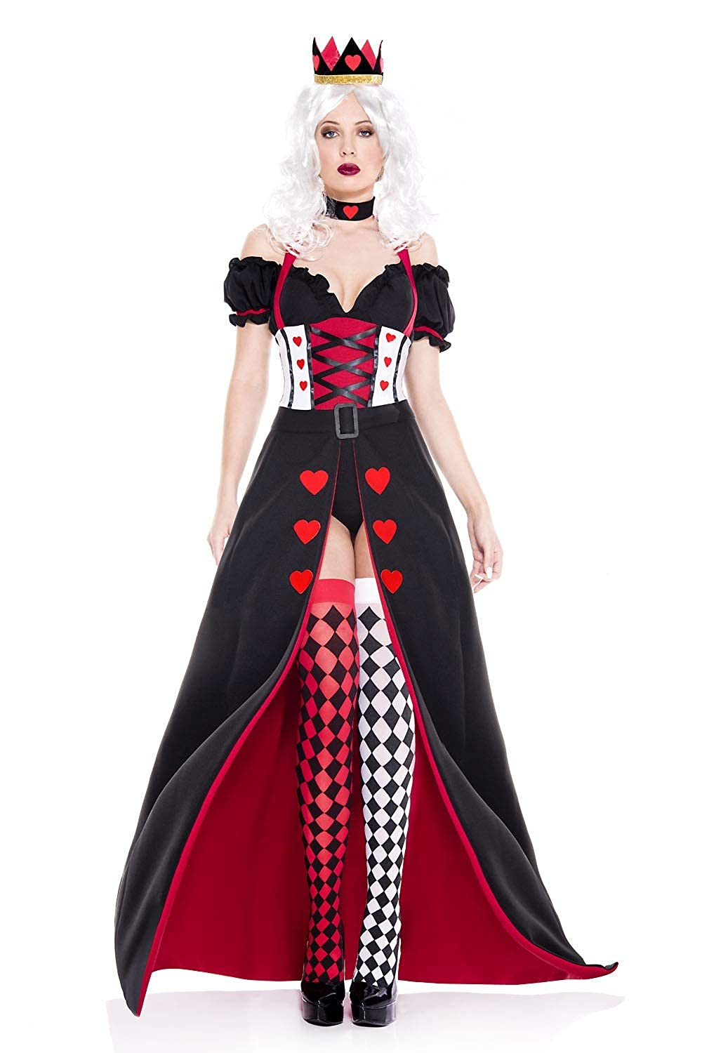 Ladies Enchanting Royal Queen of Hearts 5-Piece Open Front Dress Costume Set (Size XS - XL) - DeluxeAdultCostumes.com