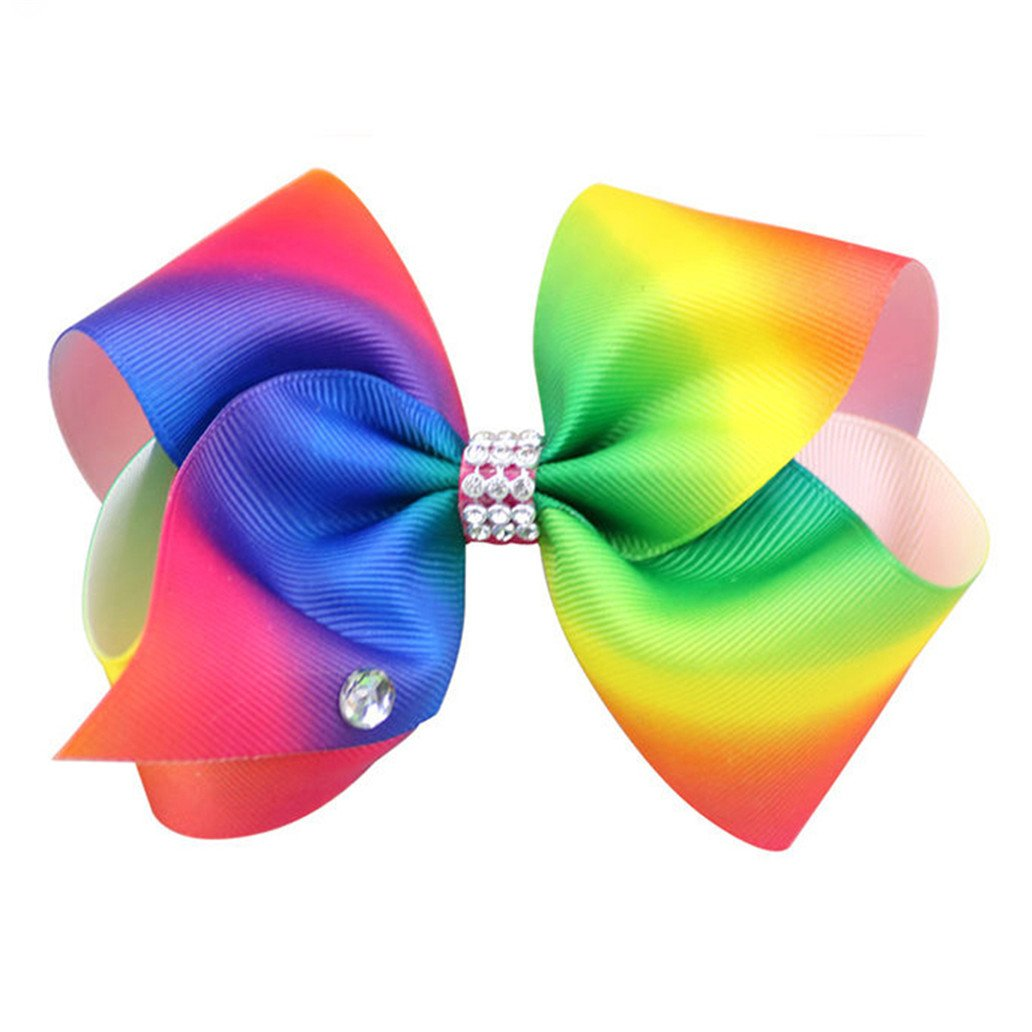 DISPLAY08 grande fiocco per capelli arcobaleno Dance MOM Girls, accessori per capelli