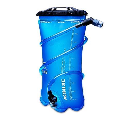 DEKINMAX Bolsa de Agua Portátil para Mochila de Senderismo Campamento Ciclismo (Azul, 2L)