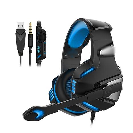 JianMeiHome Ordenador Portátil Auriculares Auriculares Micrófono Auriculares para Juegos Auriculares USB con un Solo Orificio (