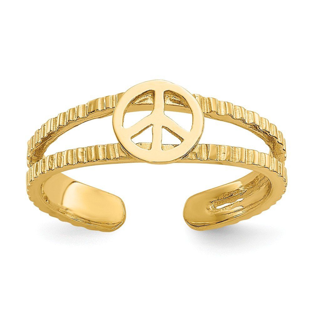 14k Yellow Gold Polished Sparkle-Cut Peace Sign Toe Ring