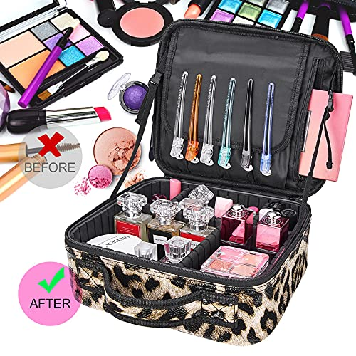 Large Cosmetic Bag, AIMEI Makeup Bag Professional Makeup Organizer Bag, Double Layer Waterproof Cosmetic Case for Women & Girl, Travel Toiletries Cosmetic Bag with Brush Pot & Durable Zipper (Leopard Print) S