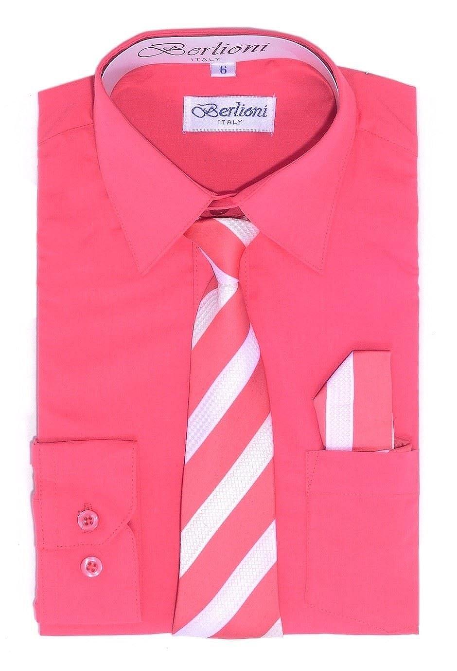 Amazon Berlioni Italy Kids Boys Dress Shirt With Tie Hanky