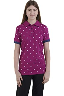100/% Cotton Long Sleeve Dot Design Three Buttoned Neck Casual Outwear Sports Sweatshirt with Pockets Hazy Blue Women/'s Polo Shirt Clover