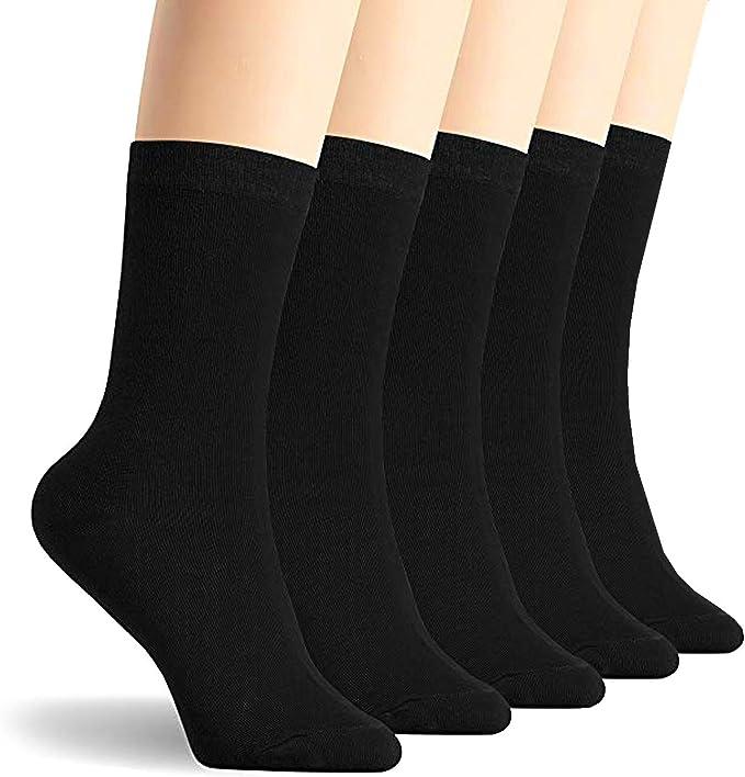 Calcetines - para mujer 100% algodón peinado - negro: Amazon.es ...