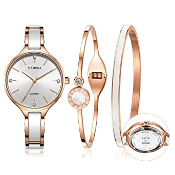 369e1e489ab Amazon.com: MAMONA Custom Engraved Watch Set for Women Personalized ...