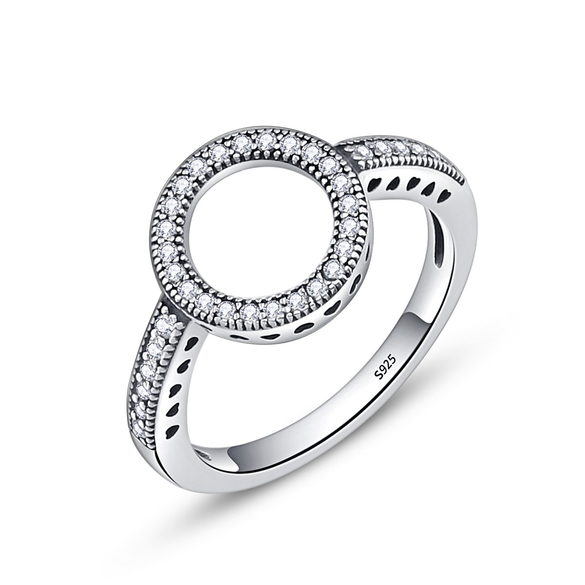 BAMOER 925 Sterling Silver Circle of Life CZ Eternity Halo Ring for Women Promise Ring Size 6-9 (6)