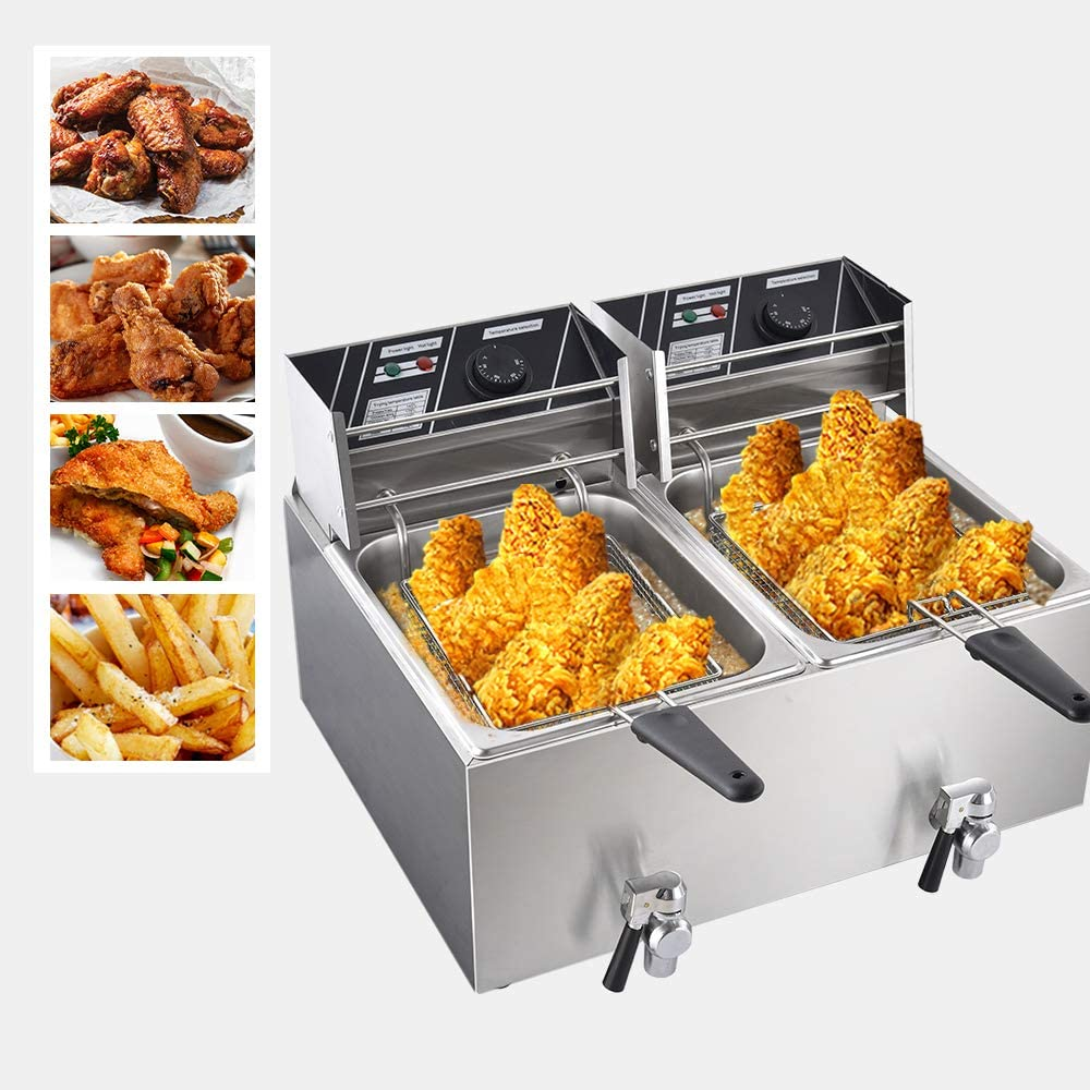 Viugreum Commercial Deep Fryer with Oil Raft, Fryers with Baskets 16L Freidora de Papas Fritas with Double Fryer Large Countertop 2 Baskets Stainless Steel French Fryer for Turkey, French Fries 3600W