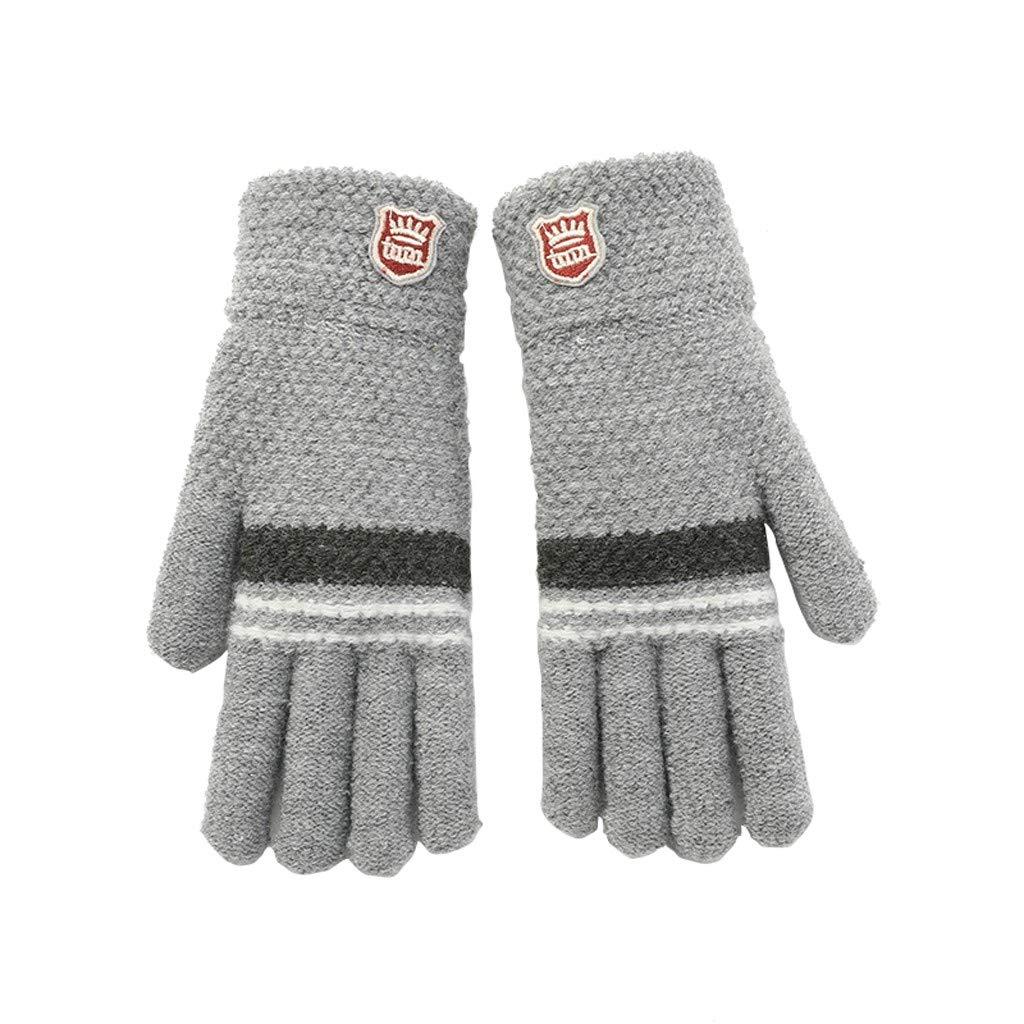Xmas Gift 6 to 10Y Gallity Kids Winter Warm Magic Gloves,Teens Winter Thicken Stretchy Knit Full Finger Gloves,Children Girls Boys Knit Ski Gloves Mittens Beige