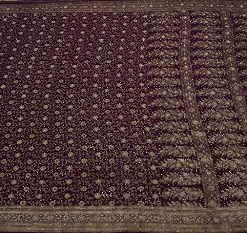Beaded Silk Georgette - Vintage Sari 100% Pure Georgette Silk Hand Beaded Zari Woven Brocade Fabric