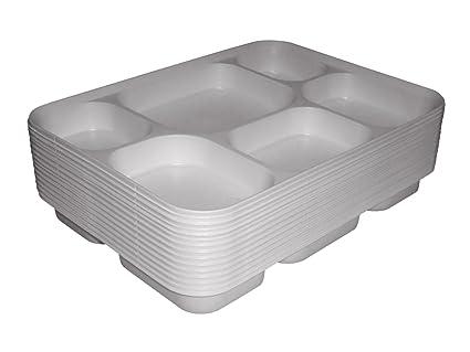 Salida Thali - Punjabi sección 50 x 6 blanco desechables Thali comida bandejas para placa de