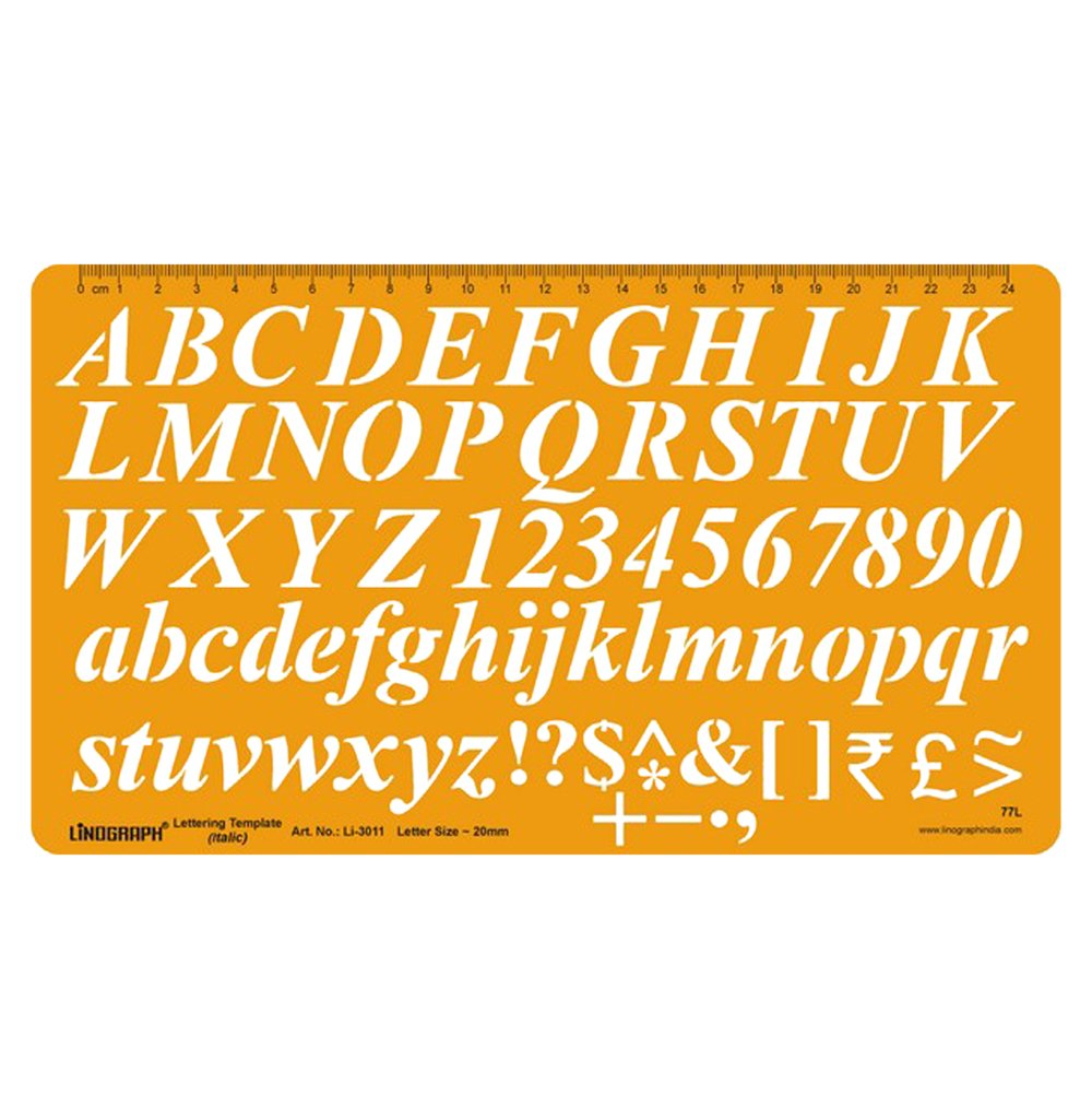 Italics Lettering Template Alphabet Stencil Symbols Technical Drafting And Drawing Letter Size 20 mm
