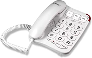 Ornin S016 Big Button Corded Telephone with Speaker, Hearing Aid Compatible for Seniors (White)