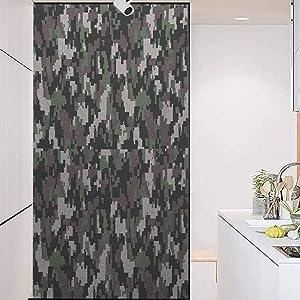 ShowerRoomWindowFilmGlassStickers, Camo Pixelated Pattern Digital Effect Modern Conceptual, Home Glass Film for Bathroom Meeting Living Ro, W17.7xH35.4 Inch